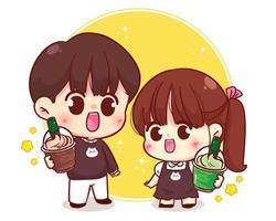 casal fofo segurando café e chá matcha com ilustração de personagem de desenho animado vetor