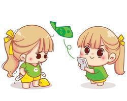 garota usando banco móvel para remessa de dinheiro ilustração dos desenhos animados
