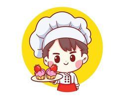 menino chef de padaria fofo segurando bolo de morango sorrindo ilustração da arte dos desenhos animados
