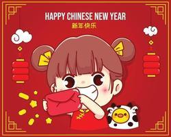 linda garota segurando um envelope vermelho, feliz ano novo chinês, saudação de ilustração de personagem de desenho animado vetor