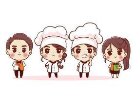 grupo de chefs-chefe e mulher. personagens desenhados à mão