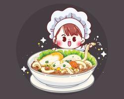Ilustração dos desenhos animados de sopa de macarrão de peixe com bolinhas de peixe vetor
