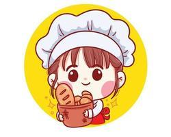 Garota fofa chef de padaria carregando pão sorrindo cartoon arte ilustração vetor
