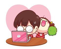 linda garota incentiva o namorado enquanto trabalha na ilustração de personagem de desenho animado feliz dia dos namorados