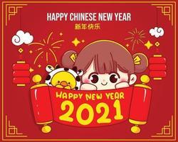 ilustração de personagem de desenho animado linda garota feliz ano novo chinês vetor