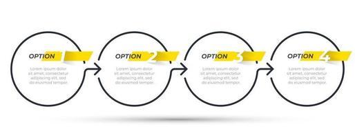 modelo de infográfico de negócios. design de linha fina com seta e 4 opções ou etapas. pode ser usado para relatório anual, fluxograma, diagrama de processo. vetor