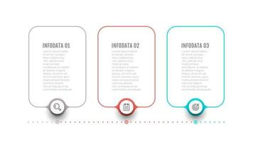 elementos de design de rótulo de linha fina para infográfico. conceito de negócio com 3 opções ou etapas. pode ser usado para layout de fluxo de trabalho, fluxograma, web design. vetor