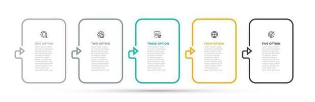 etiqueta do projeto do vetor infográfico linha fina seta com ícones de marketing. conceito de negócio com 5 opções, etapas, peças. pode ser usado para diagrama de fluxo de trabalho, relatório anual, apresentação.