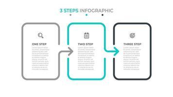 modelo de design de infográfico de negócios com ícone e setas. linha do tempo com 3 opções ou etapas. pode ser usado para diagrama de fluxo de trabalho, relatório anual. vetor