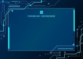 abstrato azul tecnologia geométrica e fundo de circuito eletrônico do sistema de conexão com espaço para seu texto. vetor