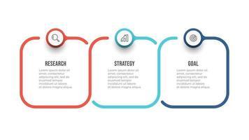 modelo de infográfico de vetor. conceito de negócio com ícone e 3 opções ou etapas. pode ser usado para diagrama de fluxo de trabalho, relatório anual, fluxograma. vetor