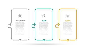 infográfico modelo de design de vetor com linha fina e ícones. conceito de negócio com 3 opções, etapas, peças.