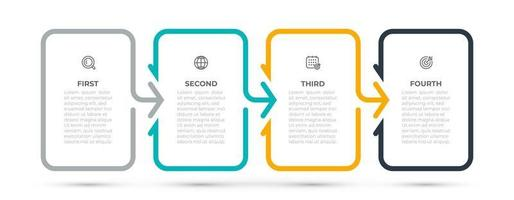 elemento de design de modelo de infográfico de negócios com seta e ícones. linha do tempo com 4 opções ou etapas. ilustração vetorial. pode ser usado para layout de fluxo de trabalho, gráfico de informações, gráfico de informações, web design.