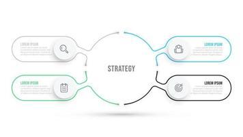 modelo de infográfico plana de linha fina. design de visualização de dados de negócios com ícones e 4 opções ou etapas. pode ser usado para diagrama de fluxo de trabalho, gráfico de processo, relatório anual.