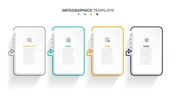 rótulo de retângulo infográfico de vetor, design de modelo. conceito de negócio com 4 opções ou etapas. modelo moderno infográfico com linhas de seta.