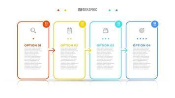 elementos do vetor infográfico etiqueta do projeto da linha fina com ícones. conceito de negócio com 4 opções, etapas. pode ser usado para diagrama de fluxo de trabalho, gráfico de informações, gráfico.