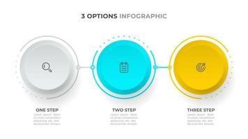 modelo de infográfico de três etapas. projeto de conceito de negócio com ícones e círculo.