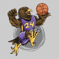 águia usando bola de basquete vetor