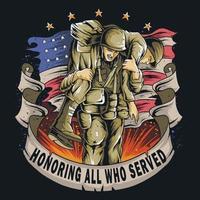 veterano do exército americano segurando amigo vetor