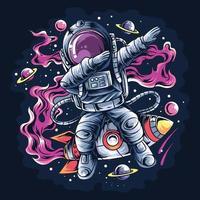 astronauta tocando um foguete espacial com estrelas e planetas