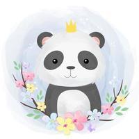 bebê panda fofo em estilo aquarela vetor