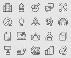 conjunto de ícones de estratégia e equipe vetor