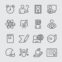 conjunto de ícones de 2 linhas de educação vetor