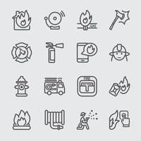conjunto de ícones de linha de bombeiros