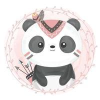 Bebê panda fofo tribal em estilo aquarela vetor