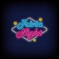 trivia night neon sinais estilo texto vetor
