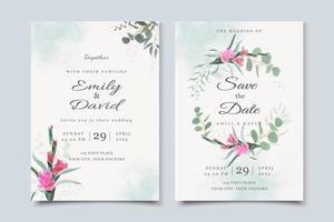 convite de casamento floral elegante vetor