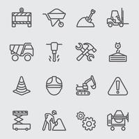 conjunto de ícones de linha de construção
