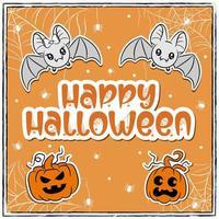 feliz halloween fofos morcegos desenhando com abóboras e aranhas vetor