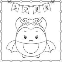 feliz dia dos namorados morcego fofo desenho esboço para colorir vetor