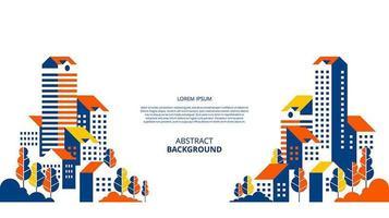 apartamentos planos abstratos com paisagem de fundo vetor