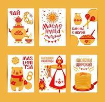 vetor definido cartas sobre o tema do carnaval feriado russo. tradução russa feliz entrudo maslenitsa, chá e panqueca com caviar.
