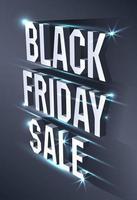 banner escuro para venda de sexta-feira negra. outdoor brilhante texto isométrico metálico em fundo preto. conceito de publicidade para oferta sazonal. vetor