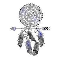 mão desenhada estilo boho de flecha decorativa com penas vetor