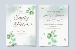 modelo de cartão de convite de casamento em aquarela eucalipto vetor