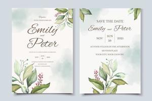 modelo de cartão de convite de casamento com lindas folhas vetor