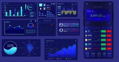 infográfico modelo de vetor ui ux analytics página de destino financeira