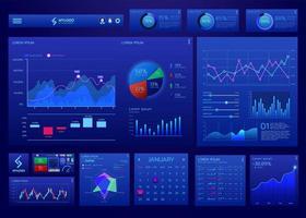 modelo de vetor de infográfico de painel azul digital ui ux
