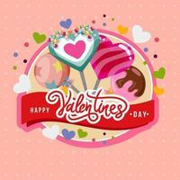 cartão de pirulito feliz dia dos namorados vetor