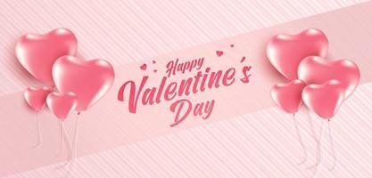 cartaz de venda do dia dos namorados ou banner com muitos doces no fundo de cor rosa suave. promoção e modelo de compra para o amor e o dia dos namorados. vetor