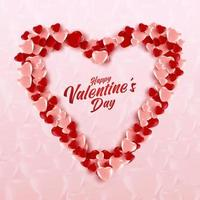 forma de um coração de balões rosa e vermelhos - corações em fundo rosa suave texturizado