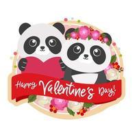feliz dia dos namorados com casal panda vetor
