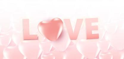 cartaz de venda do dia dos namorados ou banner com muitos corações doces e texto de amor em corações de cor rosa suave. promoção e modelo de compra para o amor e o dia dos namorados. vetor