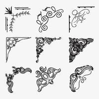 conjunto de ilustrações de moldura de canto vetor