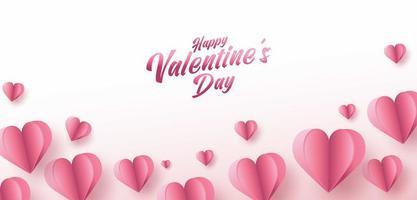 cartaz de venda do dia dos namorados ou banner com muitos corações doces e sobre fundo de cor rosa. promoção e modelo de compra ou para amor e dia dos namorados. vetor