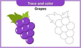 traçar e colorir uvas vetor